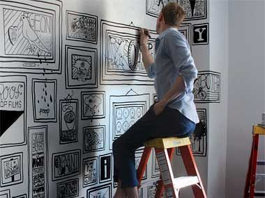 Working on a mural for Manhattan's Ace Hotel