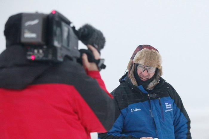 The Weather Channel on-camera meteorologist Jim Cantore reports on Winter Storm Helena in Virginia Beach, Va. on