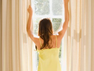 sleep guide, opening curtains