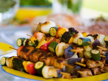 Get colorful with your kebabs.