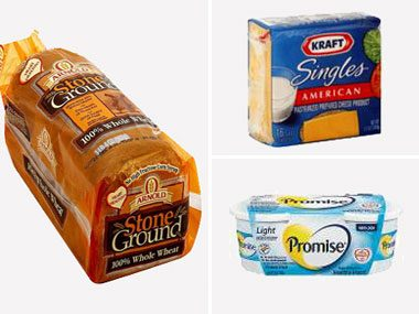 healthy eating on a budget, Arnold Bread, Kraft cheese, Promise margarine