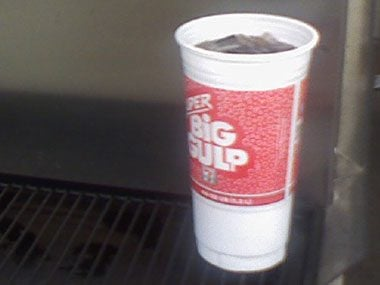 offensively huge beverages, super big gulp