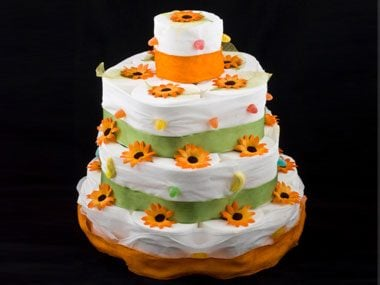 2. Toilet paper tiered cake