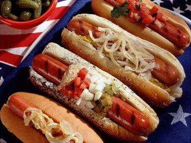 Take your hot dog through the garden.