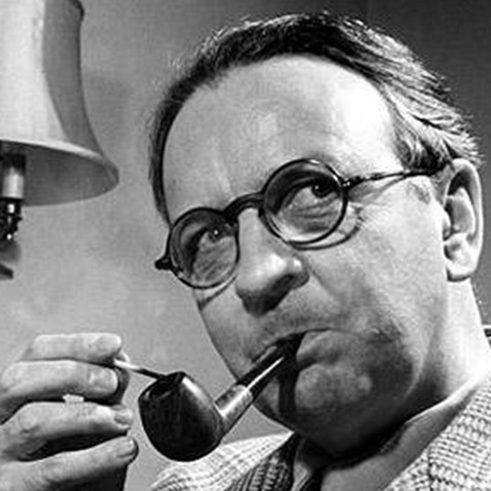 Raymond Chandler smoking a pipe
