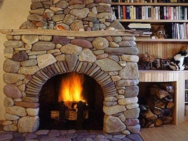 vacation rental packing, fireplace