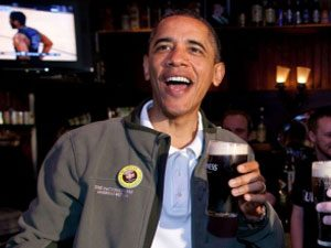 President Barack Obama with beer