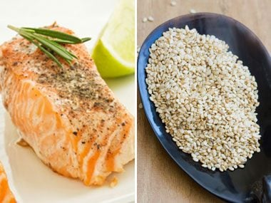 power food pairs for health, salmon and sesame seeds