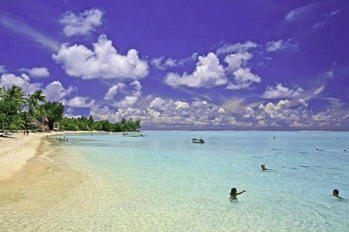 Matira Beach on Bora Bora island in French Polynesia (Tahiti). Photo taken December 2006.