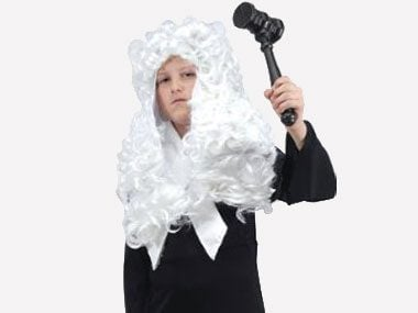 bring the court to order with this clever costume from parents turn toilet paper rolls into an wig with a little white paint use a