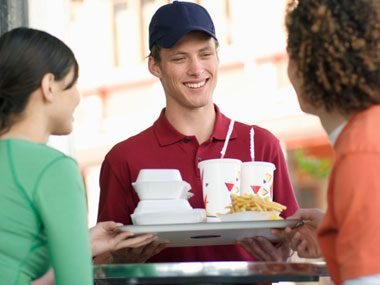 At most fast-food restaurants, it's tough to give away free food, especially things like burgers because they're inventoried.