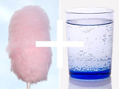 5. Cotton candy + fizzy water = a magical drink