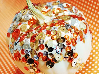 pretty bitty pumpkins with sequins