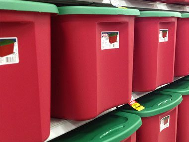 ornament storage tips, plastic bins