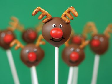 Rudolph the Red-Nosed Cake Pop