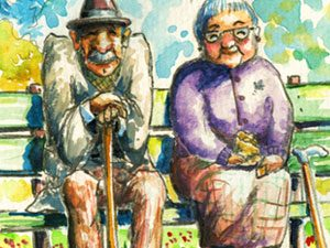 illustration of senior couple on bench