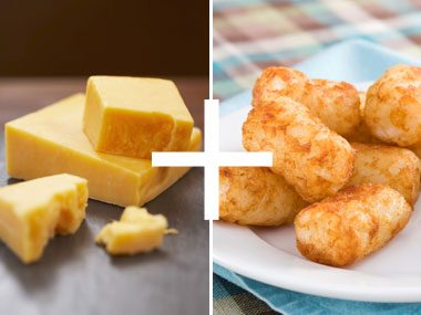 just add cheese, cheddar and tater tots