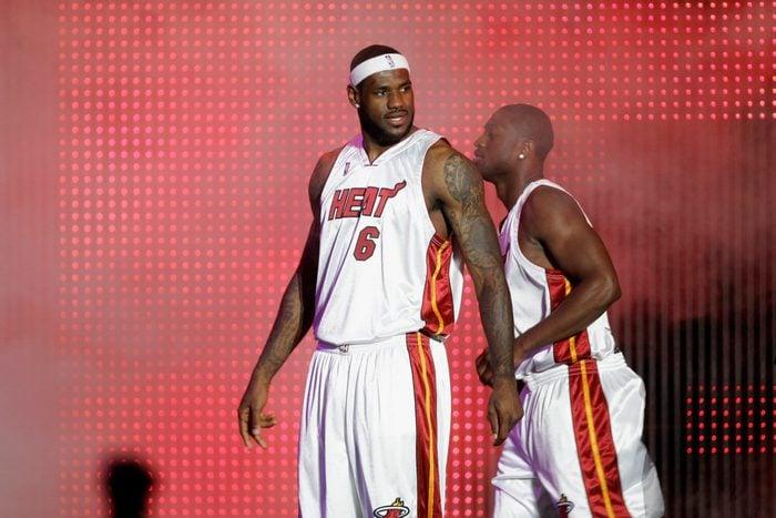 Mandatory Credit: Photo by J Pat Carter/AP/Shutterstock (5975859l) LeBron James LeBron James (6) appears at Fan Fest in Miami Miami Heat Fan Fest Basketball, Miami, USA