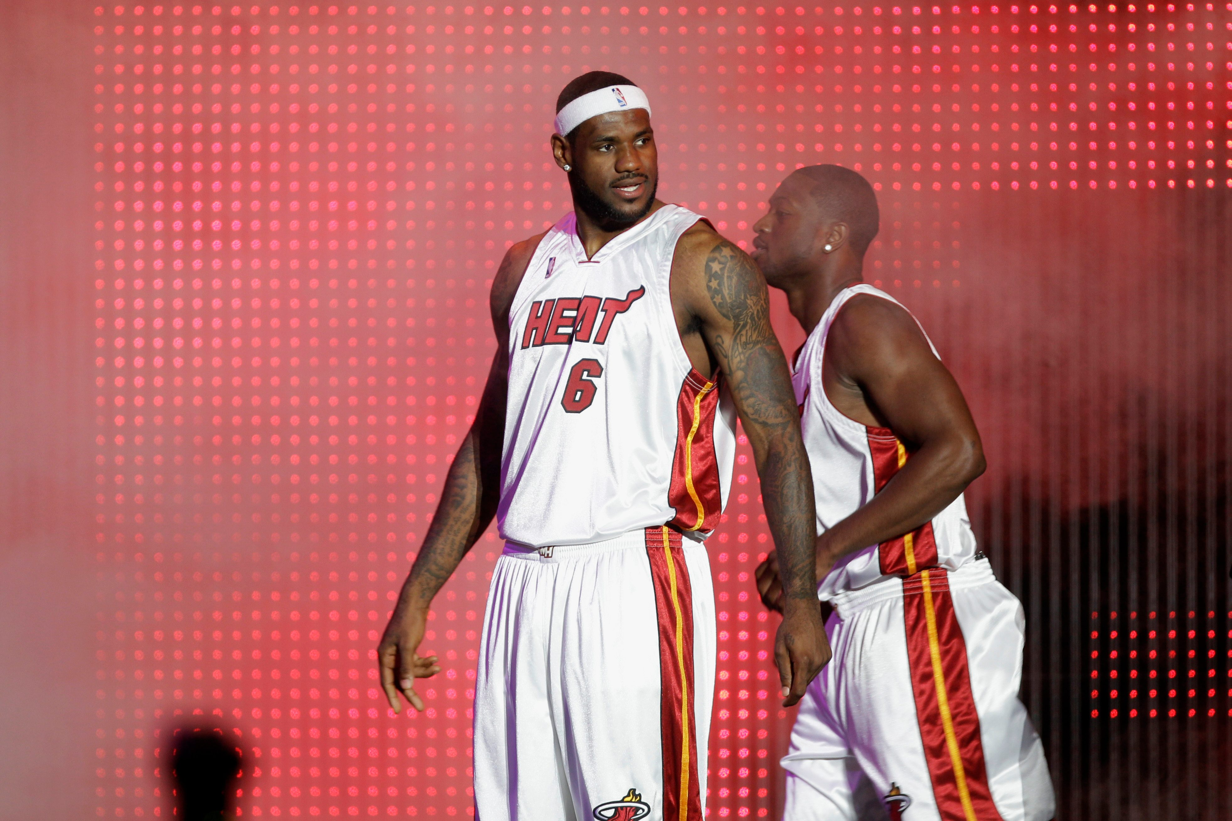 Mandatory Credit: Photo by J Pat Carter/AP/Shutterstock (5975859l) LeBron James LeBron James (6) appears at Fan Fest in Miami Miami Heat Fan Fest Basketball, Miami, USA