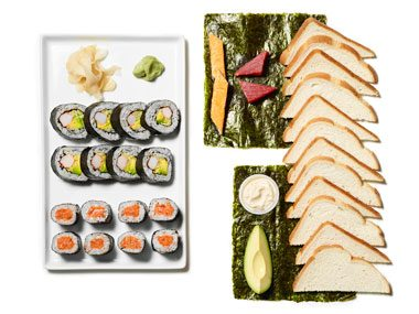 Those sushi rolls—or the pile on the right?