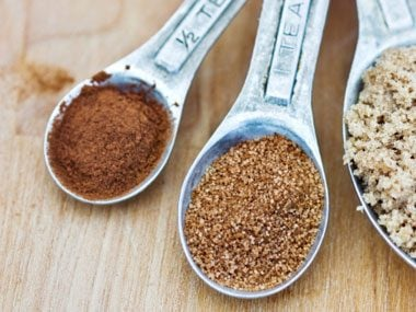 Autum spices in measuring spoons