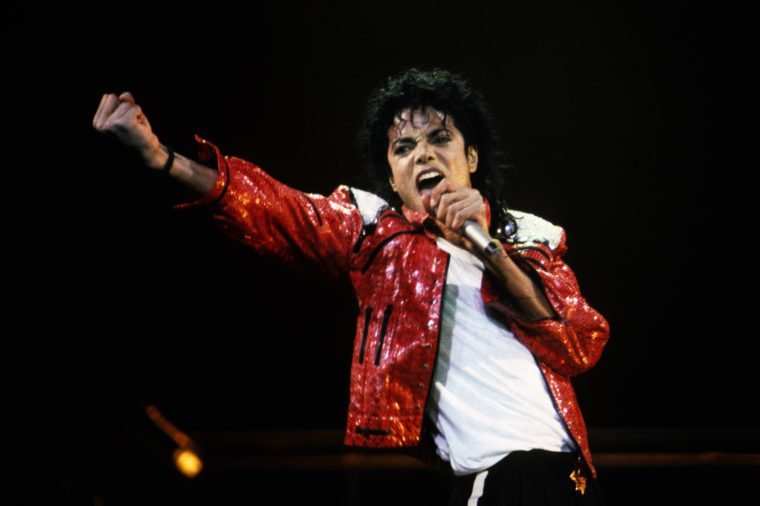 Michael Jackson performs in concert circa 1986.