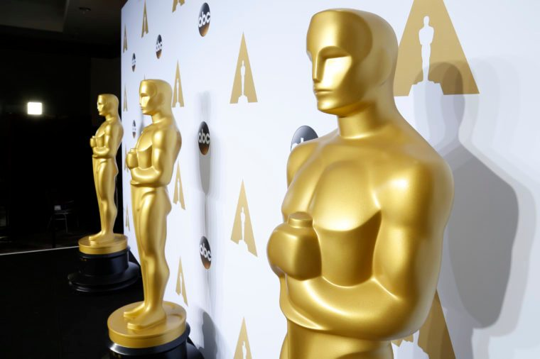 oscar statues outside the 88th academy awards in hollywood