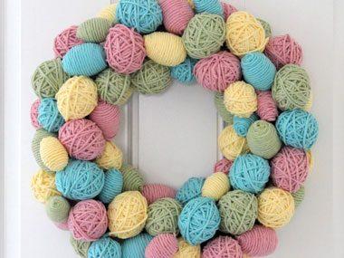 Yarn Easter Egg Wreath