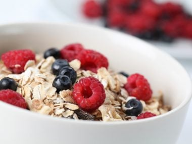 Top off cereal with berries