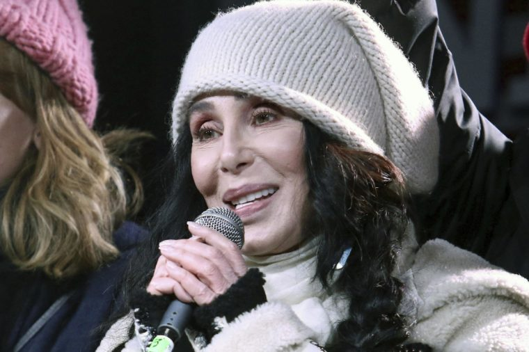 """Cher participates in the """"We Stand United: New York Rally to Protect Shared Values"""" on Thursday, Jan.19, 2017, in New York"""