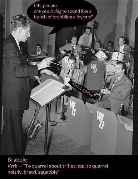 1920s band with conductor brabbling