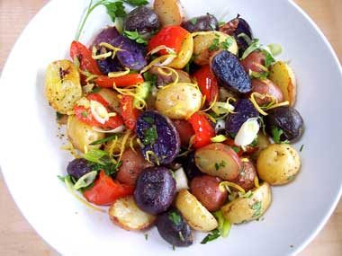 Red, white, and blue potato salad appetizer