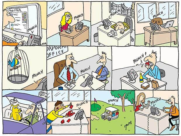 illustrated comic strip about work