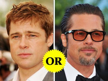 Brad Pitt with and without a beard