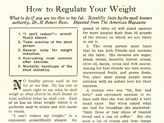 1920s Weight Loss Article