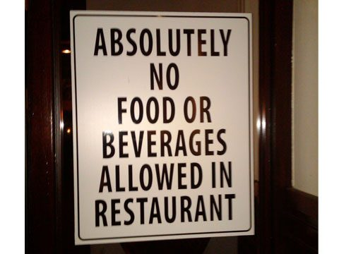 no food or beverages allowed funny signs