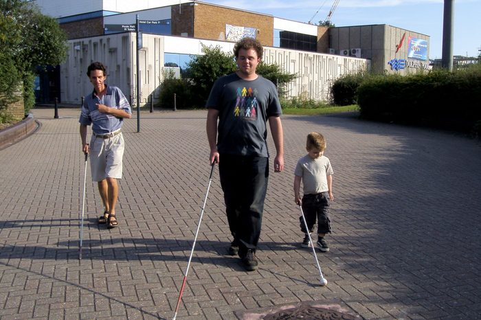 Lucas (R) with Brian Bushway (centre) and Daniel Kish from World Access for the Blind