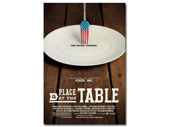 Screen <i>A Place at the Table</i>.