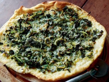 Kale and Onion Pizza