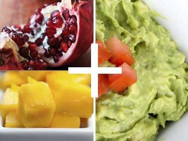 Pomagranate mango guacamole