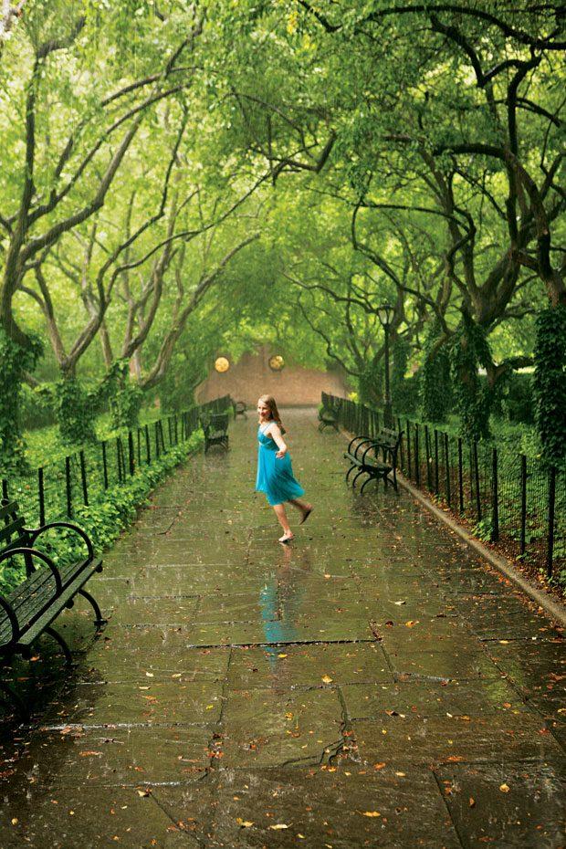Girl in the park rain