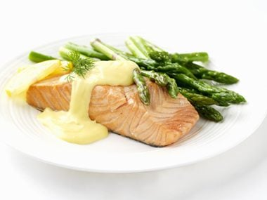 Top dishes with Hollandaise sauce.