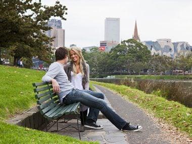 couple park happy