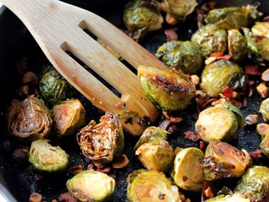 Maple Roasted Brussels Sprouts with Bacon and Toasted Hazelnuts