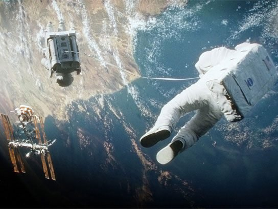 Not So True: Astronauts would never have just one tether.