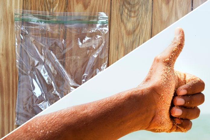 sandy hand plastic bag uses life hacks reusable