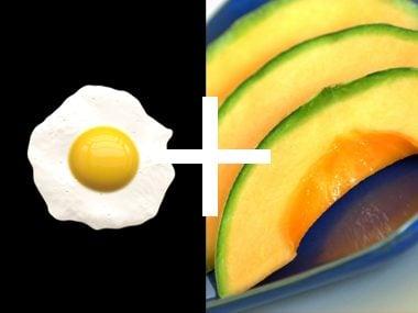 Egg and cantaloupe