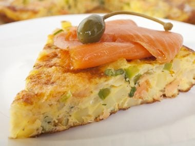 Frittata with Salmon and Scallions