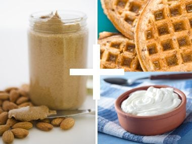 Whole Grain Waffles Topped with Yogurt and Almond Butter