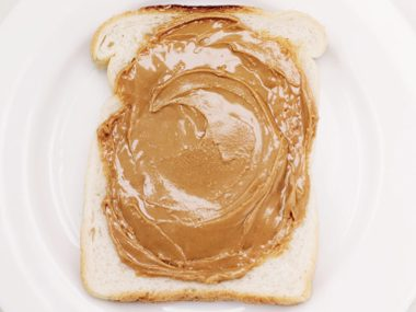 Toast with peanut butter and honey